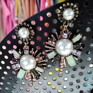 Faux pearl earrings with bling post studs